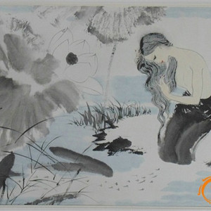 中国书画名家陈家泠国画作品《傣家风情》