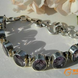 印第安河回流*近代欧洲纯天然紫水晶纯银手链(不还价)