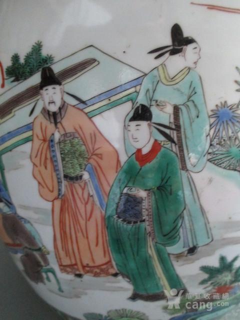 五彩人物故事纹盖缸图6