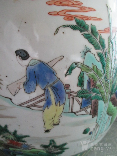 五彩人物故事纹盖缸图7