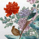 清中晚期 富贵平安 粉彩 插屏 精品 一件。
