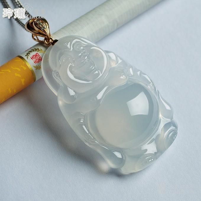 莹光老坑玻璃种翡翠弥勒立佛玫瑰金伴钻吊坠-25FF19图3