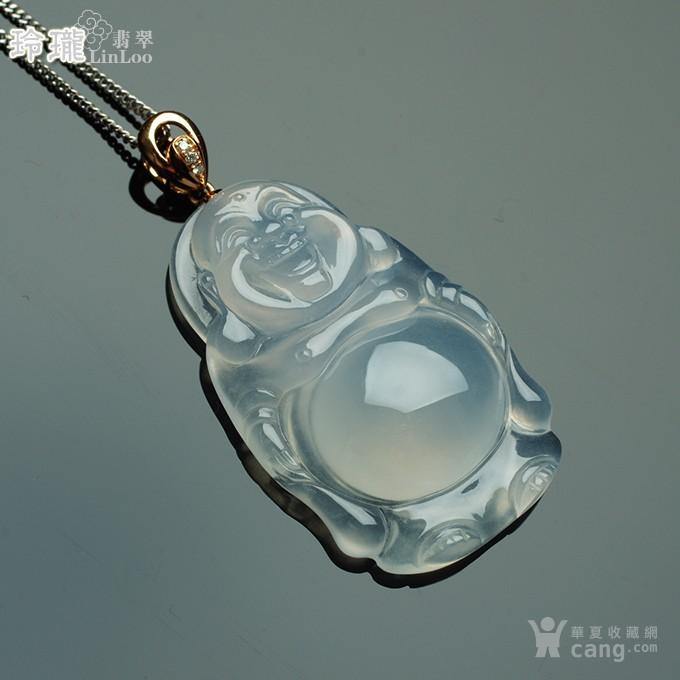 莹光老坑玻璃种翡翠弥勒立佛玫瑰金伴钻吊坠-25FF19图10