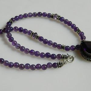 印第安河回流*几十年的印度紫晶项链带纯银紫晶坠(不还价)