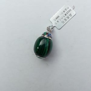 漂亮的天然孔雀石 镶嵌925银吊坠