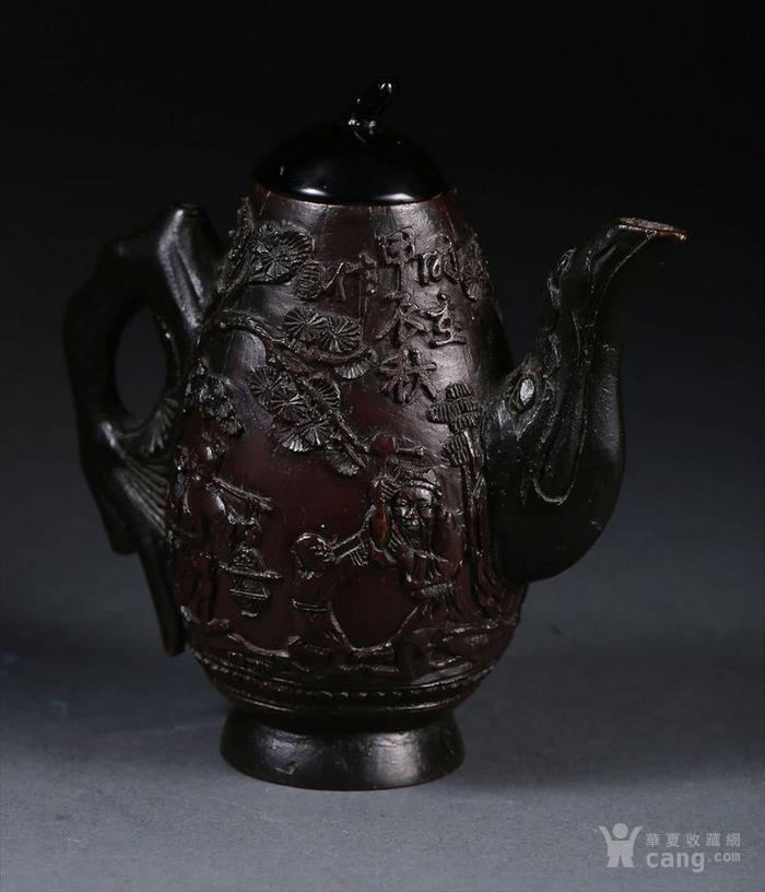 一个椰壳雕茶壶。9.3cm图1