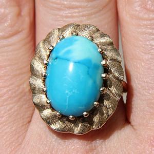 珊瑚虫-10.8克14K金镶嵌天然绿松石大戒指