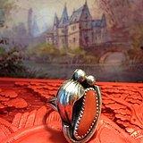 天然红珊瑚银戒指