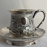 【英伦藏宝阁】英国回流 清代纯银满工人物山水浮雕茶杯碟一套