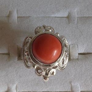 5720 红珊瑚戒指 银托