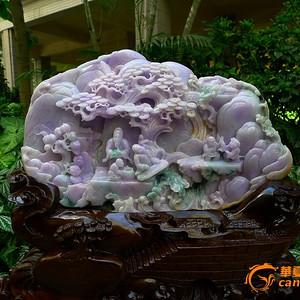 收藏级翡翠A货 精雕紫罗兰山水摆件