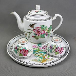 粉彩花鸟纹三件套茶具