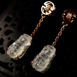 招财金蝉!18K金镶4钻石老坑玻璃种A货翡翠富贵金蟾高档耳坠