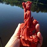 建国早期 精品 MOMO 三娘教子 红珊瑚 雕件