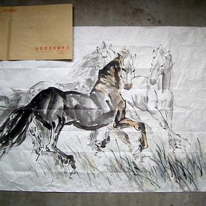 中央美院副院长◆刘勃舒《奔马图》横幅旧软片◆当代名人字画◆