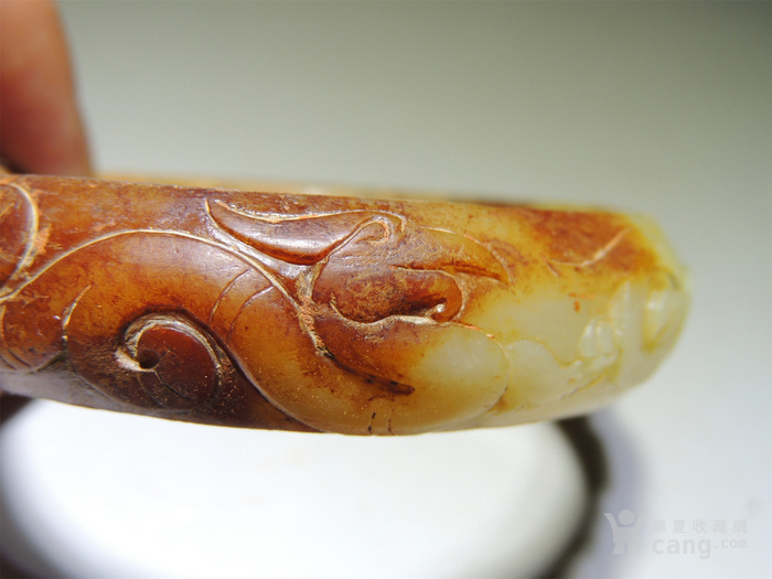 古玉老玉/难得的黄玉老玉镯子/汉代的螭龙纹黄玉镯子图7