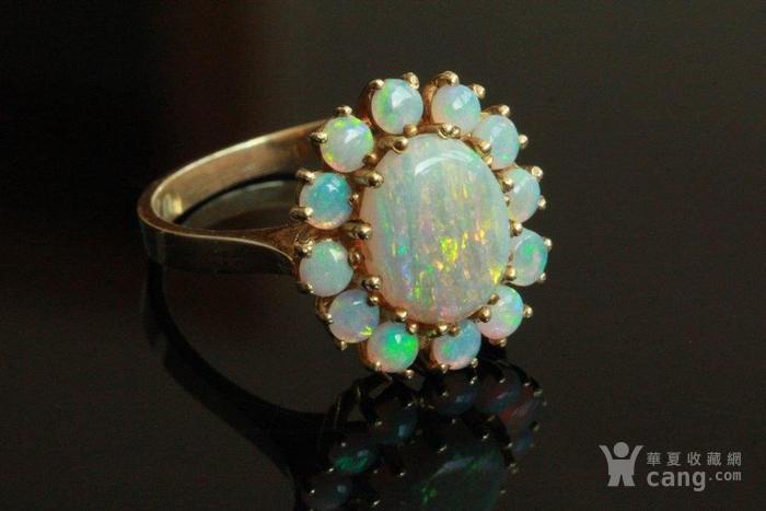 欧洲l老首饰七彩耀眼欧泊Opal戒指14K优雅 西洋珠宝收藏图1