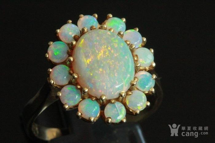 欧洲l老首饰七彩耀眼欧泊Opal戒指14K优雅 西洋珠宝收藏图2