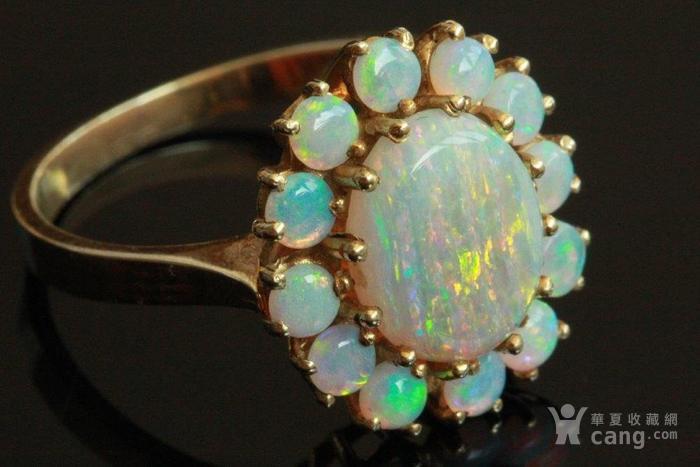 欧洲l老首饰七彩耀眼欧泊Opal戒指14K优雅 西洋珠宝收藏图3