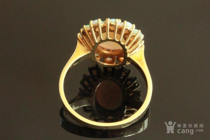 欧洲l老首饰七彩耀眼欧泊Opal戒指14K优雅 西洋珠宝收藏图4