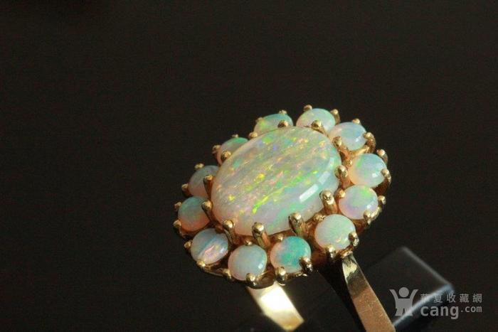 欧洲l老首饰七彩耀眼欧泊Opal戒指14K优雅 西洋珠宝收藏图5
