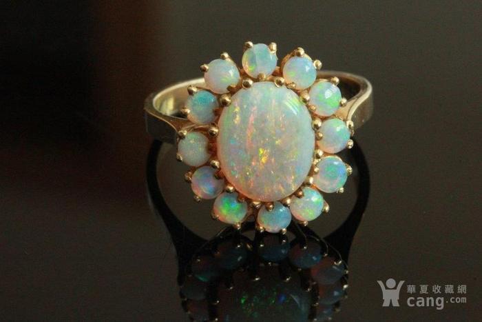 欧洲l老首饰七彩耀眼欧泊Opal戒指14K优雅 西洋珠宝收藏图6