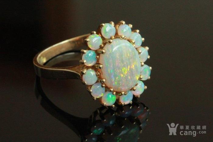 欧洲l老首饰七彩耀眼欧泊Opal戒指14K优雅 西洋珠宝收藏图7