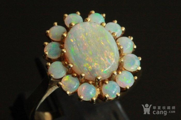 欧洲l老首饰七彩耀眼欧泊Opal戒指14K优雅 西洋珠宝收藏图8