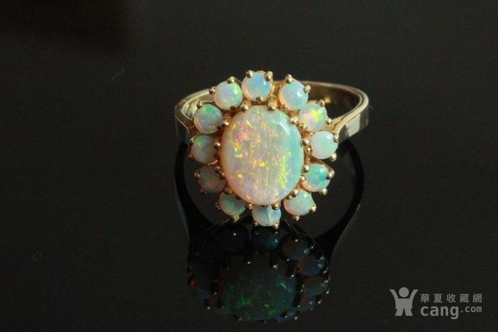 欧洲l老首饰七彩耀眼欧泊Opal戒指14K优雅 西洋珠宝收藏图9