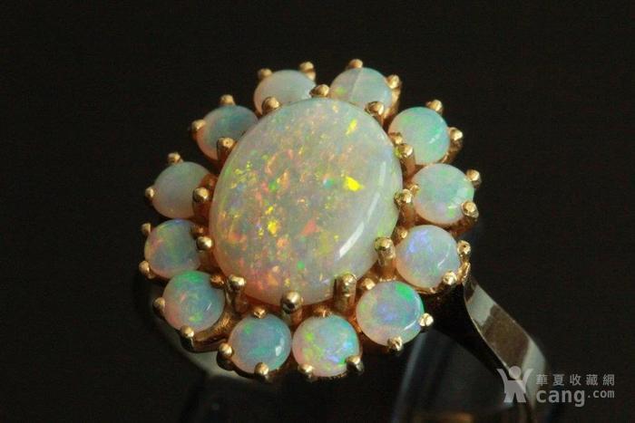 欧洲l老首饰七彩耀眼欧泊Opal戒指14K优雅 西洋珠宝收藏图10