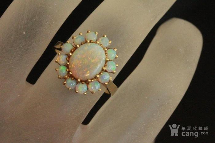 欧洲l老首饰七彩耀眼欧泊Opal戒指14K优雅 西洋珠宝收藏图11