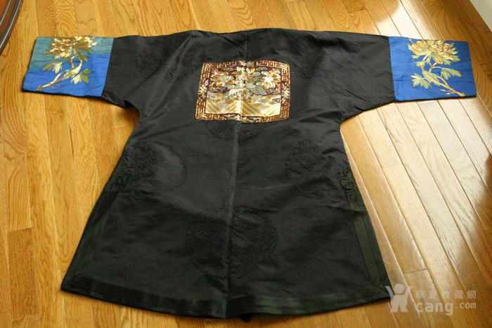 美国博物馆旧藏:清代文官前后补子 丝质暗龙纹大褂图3