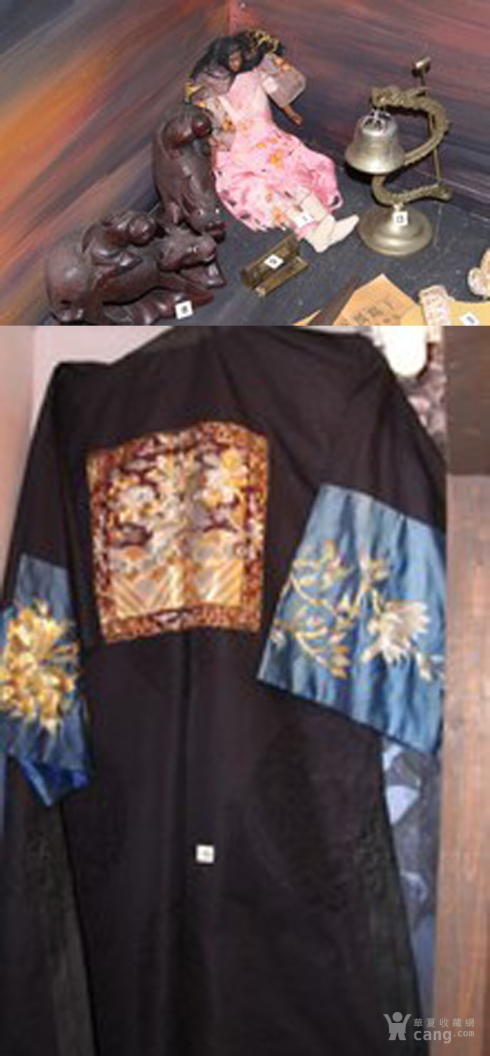 美国博物馆旧藏:清代文官前后补子 丝质暗龙纹大褂图8