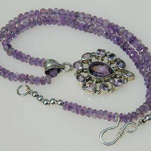 印第安河回流*漂亮的纯天然紫晶纯银项链带坠(不还价)