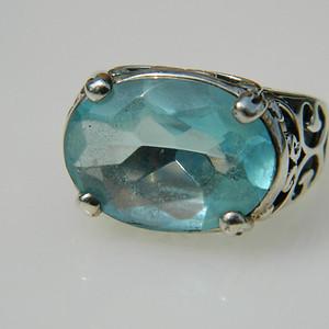 印第安河回流*漂亮的近代美国托帕石纯银戒指(不还价)