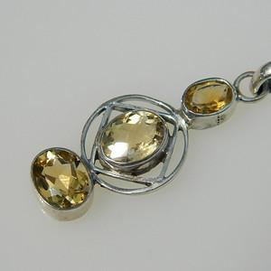 印第安河回流*漂亮的近代美国黄水晶纯银吊坠(不还价)