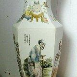 民国王琦浅绛彩神仙人物六方瓶(自藏展示)