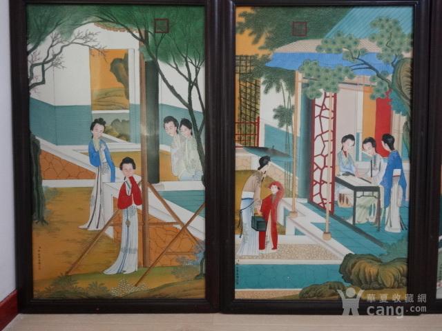 传世粉彩人物瓷板一套【12副】图3