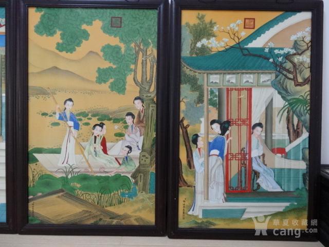 传世粉彩人物瓷板一套【12副】图6
