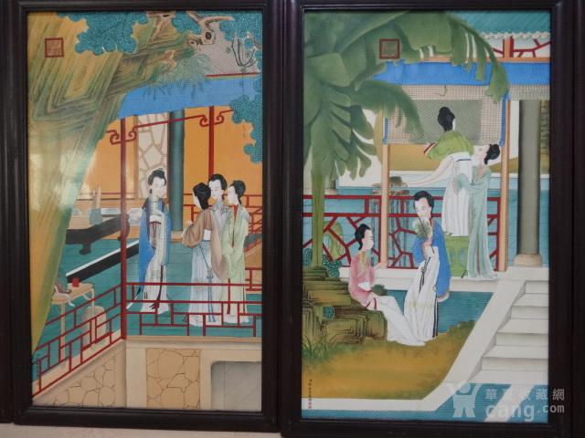 传世粉彩人物瓷板一套【12副】图7