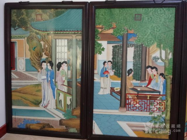 传世粉彩人物瓷板一套【12副】图8