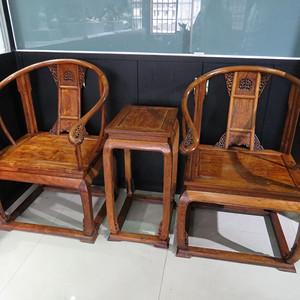 【超多鬼脸・特征明显】近代 越南黄花梨圈椅一对