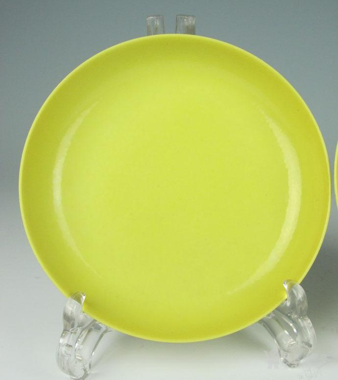 清雍正 柠檬釉盘一对图5