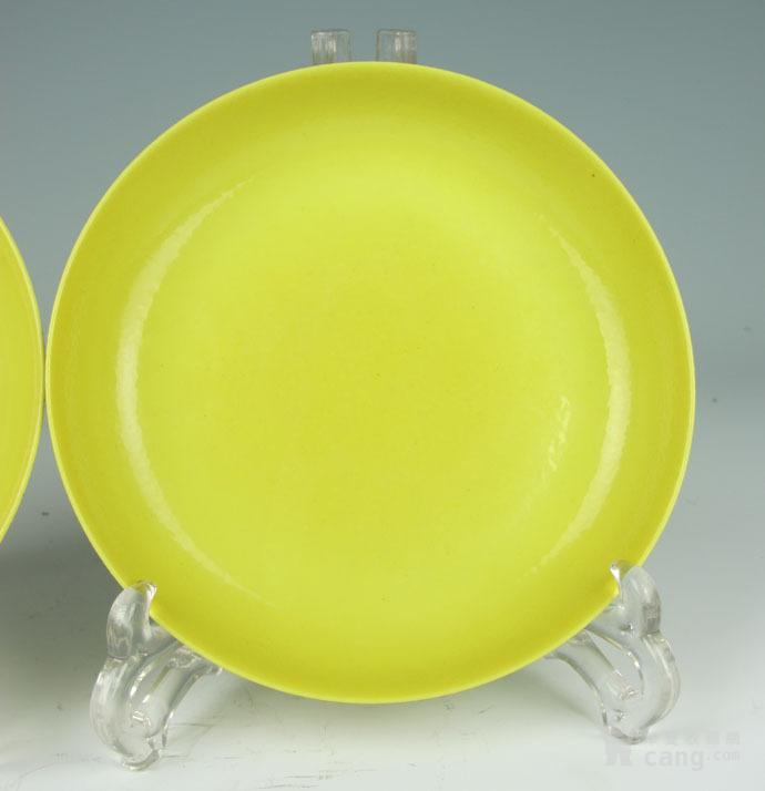 清雍正 柠檬釉盘一对图6