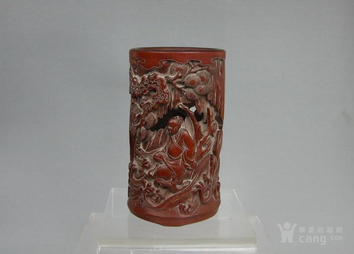 清代   竹雕人物小笔筒『聚古斋』图1
