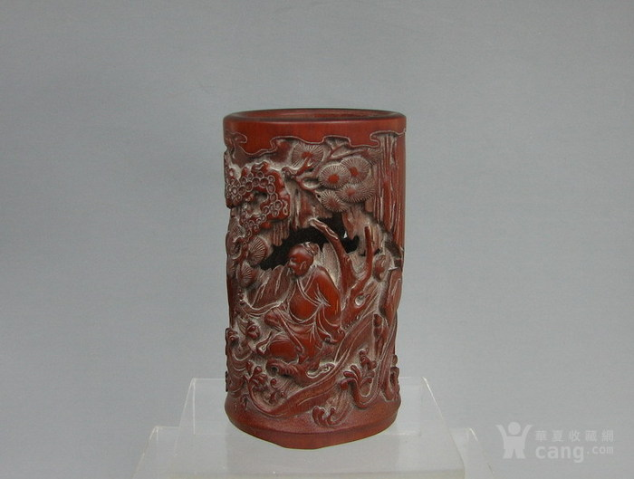 清代   竹雕人物小笔筒『聚古斋』图6