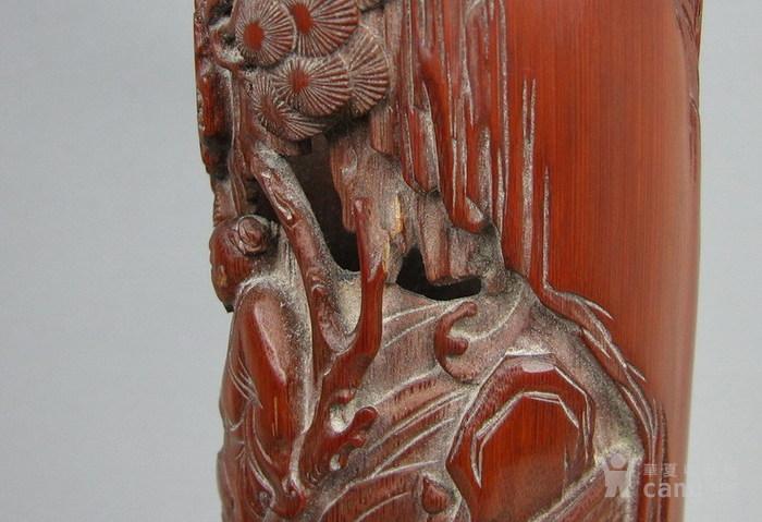 清代   竹雕人物小笔筒『聚古斋』图7