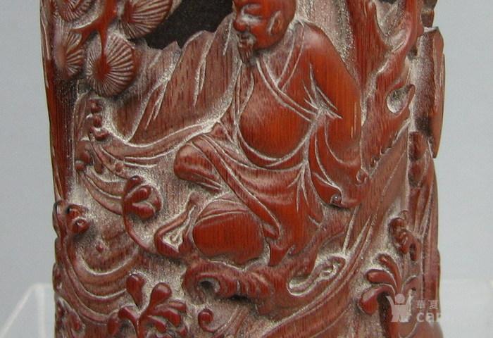 清代   竹雕人物小笔筒『聚古斋』图8