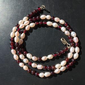 I0398 天然红石榴石+珍珠项链