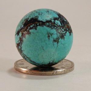 回流天然原矿高蓝铁线松石圆珠大单珠 14.7g